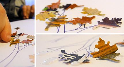 Herbstblätter mit Motivlocher ausgestanzt und aufgeklebt