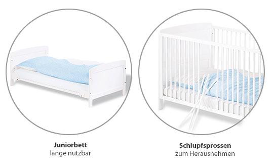Beispiele für Kinderbetten mit Schlupfsprossen und ohne Seitenwände