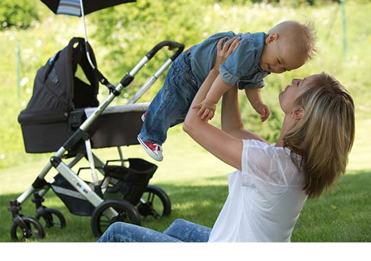 Mutter und Kind mit Kinderwagen
