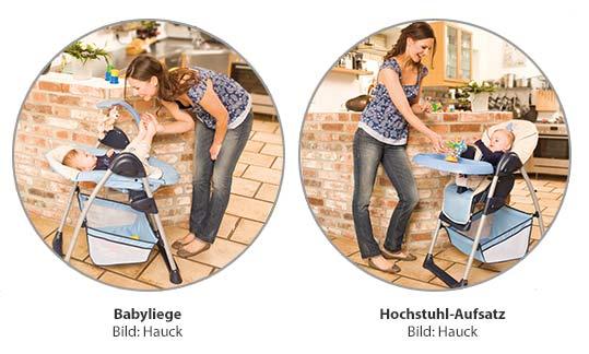 Welchen Hochstuhl für ein 4 Monate altes Baby? Ein Kombi-Modell aus Liegefläche und Sitzaufsatz, wie diese Frau und Ihr Baby zeigen.