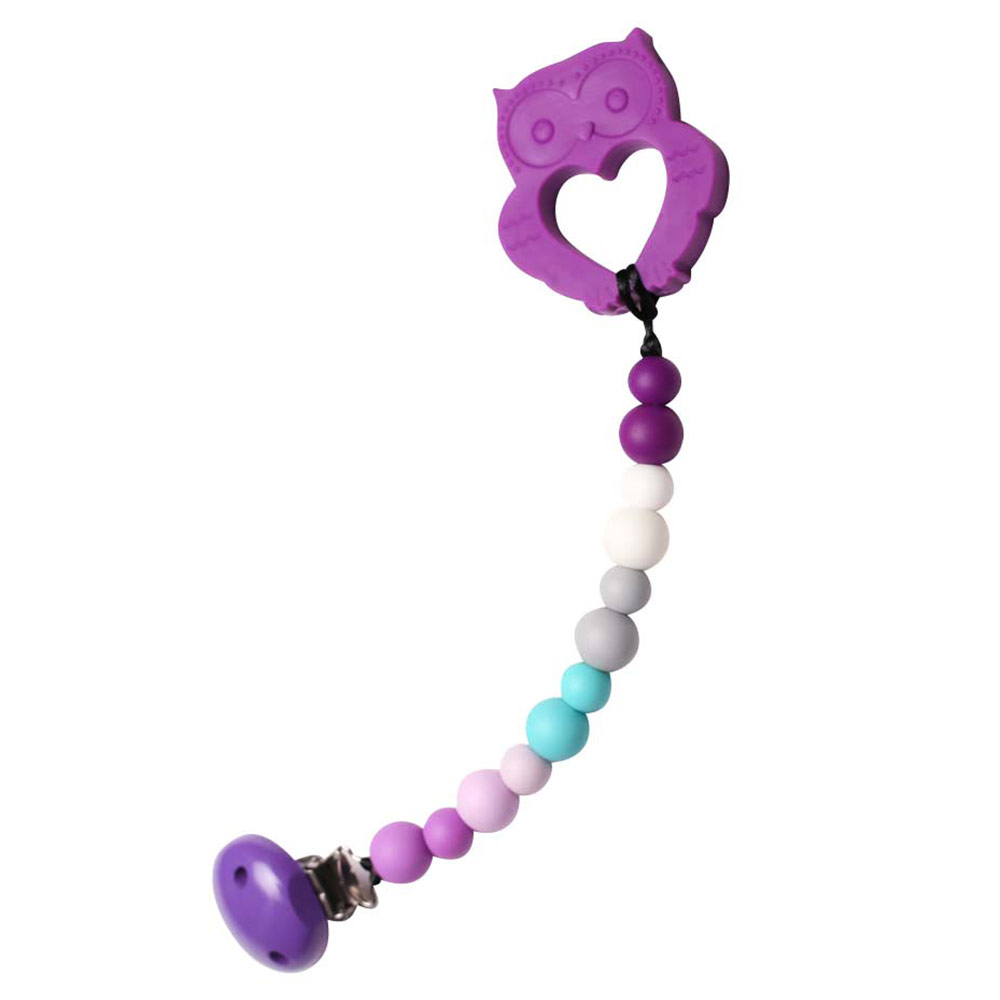 besondere geschenke zur geburt beisskette eule lila bellajane
