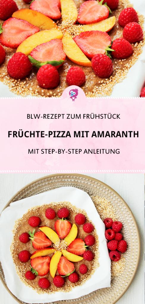 Dein Baby ist bereit für Beikost und Du suchst nach Ideen? Hier findest Du ein leckeres BLW-Rezept, das sich prima zum Frühstück oder als Snack eignet: Bunte Früchte-Pizza #blw #baby #frühstück