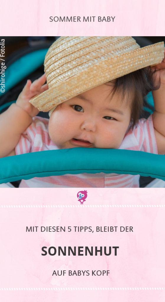 Die Sonne brennt, aber Dein Baby will seinen Sonnenhut partout nicht auf dem Kopf behalten? Diese 5 Tipps helfen garantiert. #baby #sonnenhut