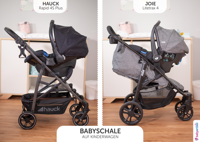 kinderwagen 3 in 1 test, babyschale comfort fix auf hauck rapid 4 s, joie gemm auf litetrax 4