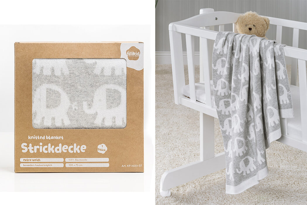 Fillikid Baumwolldecke 75 x 100 cm - Elefanten - Grau Weiß Babydecke, Kuscheldecke