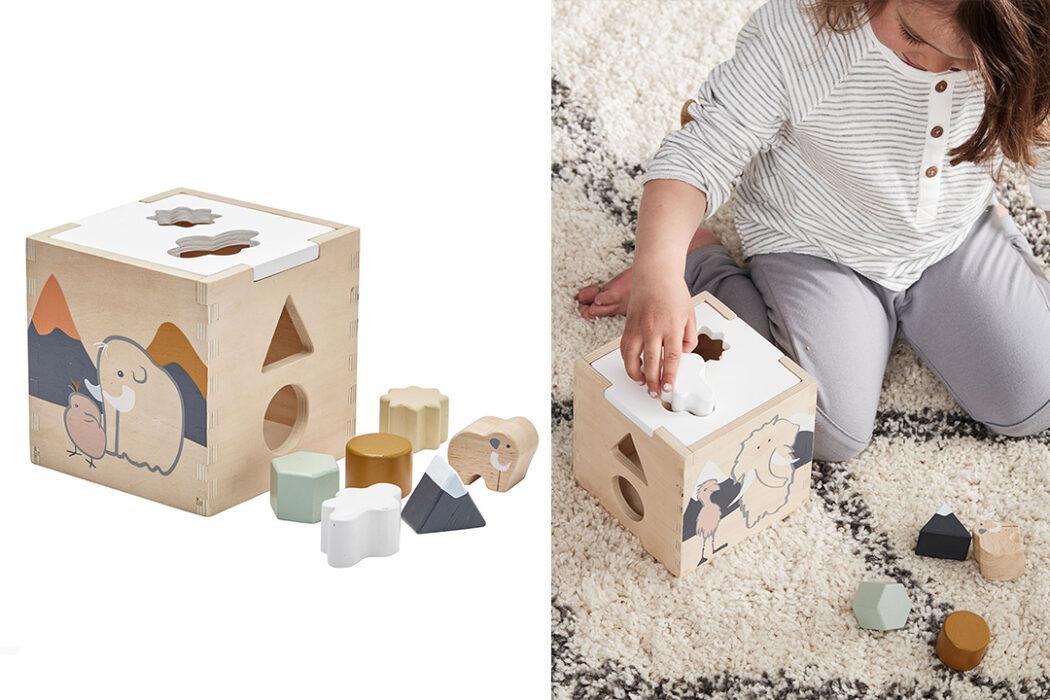 Kids Concept Steckspiel Neo - Natur Sortierwürfel Sortierspiel Sortierbox, Steckwürfel Holzspielzeug