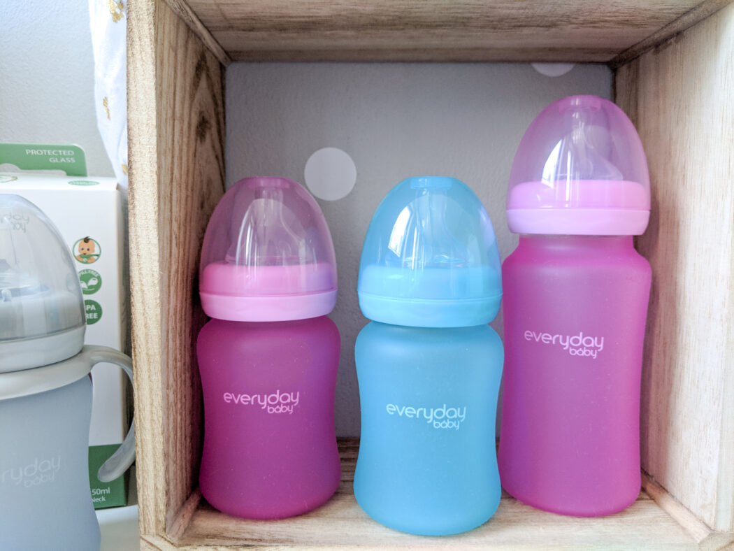 Everyday Baby Glas-Flasche mit Silikon-Splitterschutz und Wärmesensor 150 ml  Babyflasche