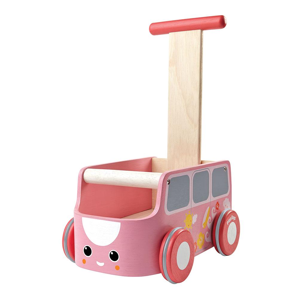 Lauflernwagen rosa van plantoys aus holz baby spielzeug