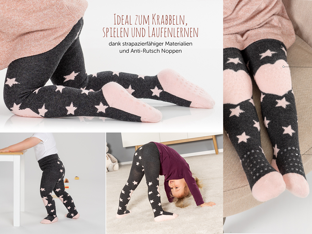 LaLoona Krabbelstrumpfhose rosa grau mit ABS Noppen an Knie und Fuß Anti Rutsch Noppen