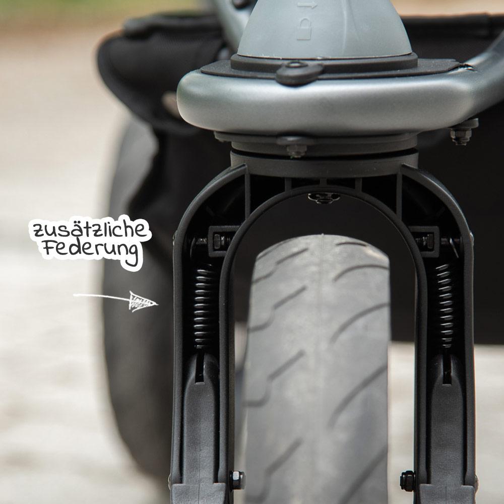 Zusatzfederung Vorderrad Luftkammerreifen TFK Mono Kinderwagen
