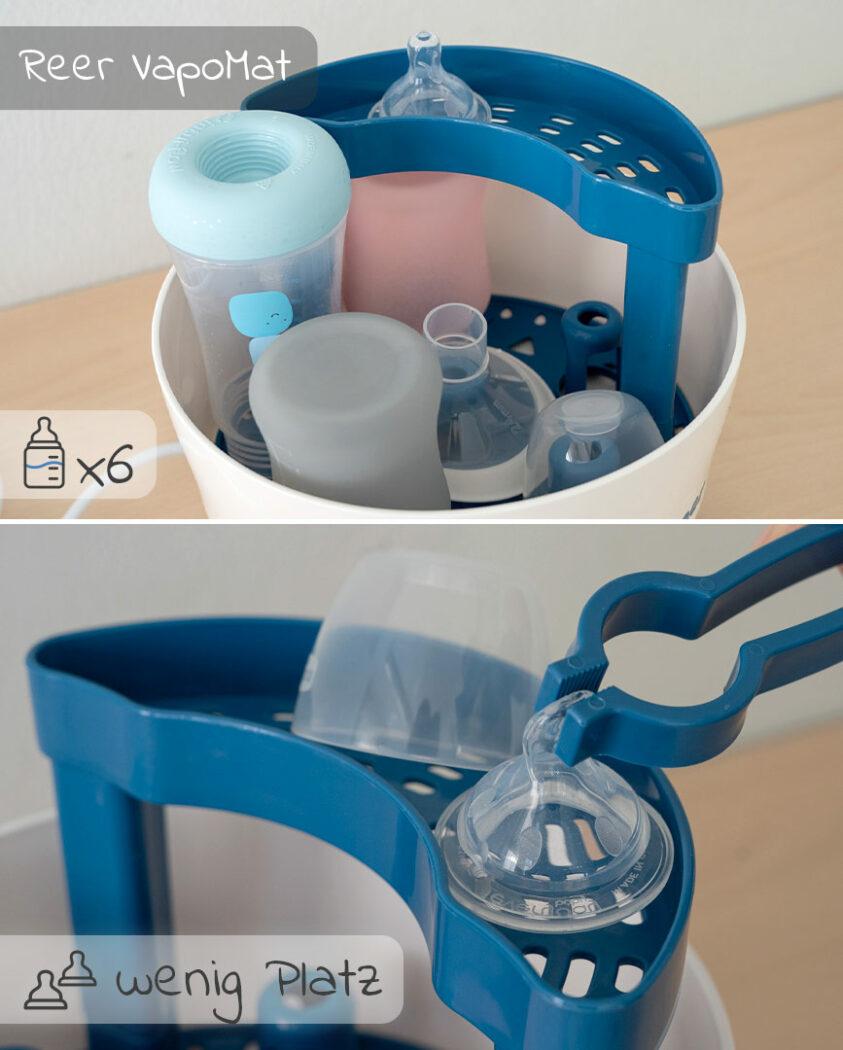Platz für Fläschchen und Zubehör, Sterilisator Reer VapoMat