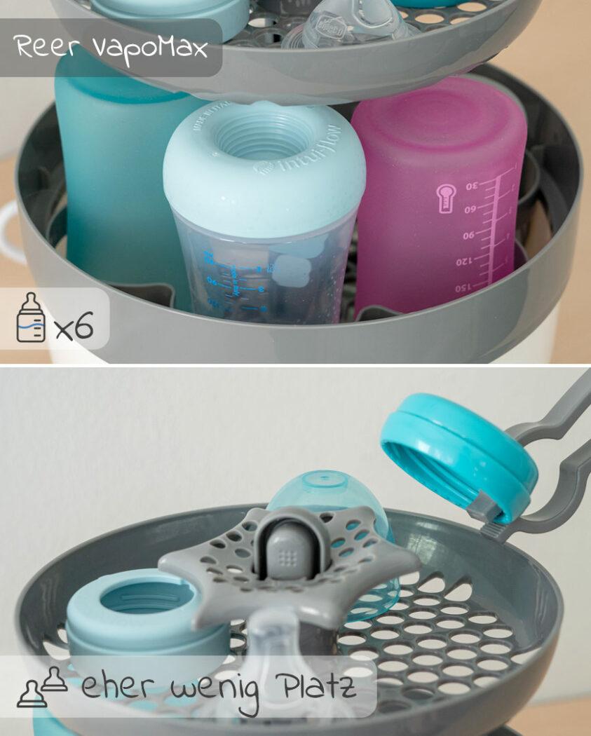 Platz für Fläschchen und Zubehör, Sterilisator Reer VapoMax