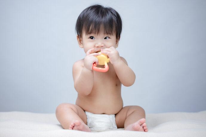 Baby mit Fruchtsauger, Fruchtsauger, Fruchtschnuller, Fütterungshilfe, Obstsauger