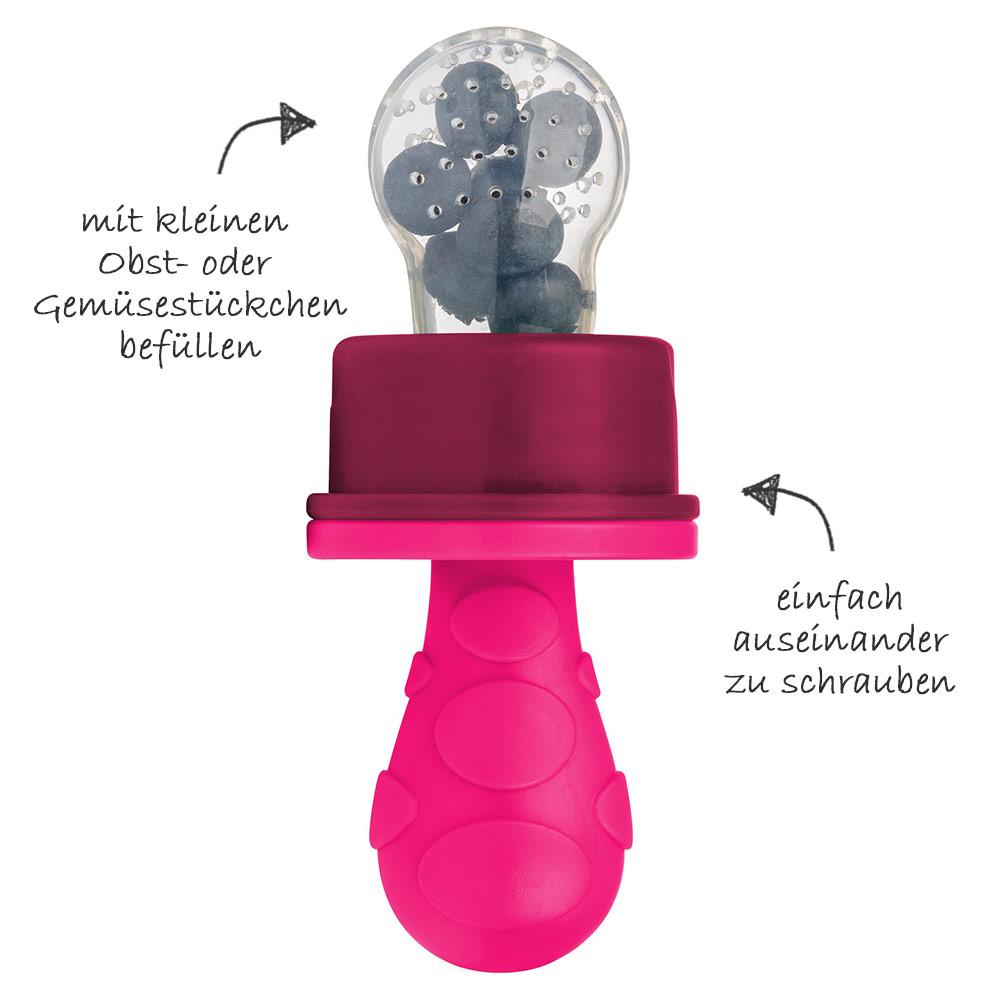 Fruchtsauger Primamma pink verwenden, Primamma Fruchtsauger Verwendung