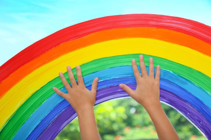 regenbogen, fingerfarben, experimente mit farben, farbexperiment