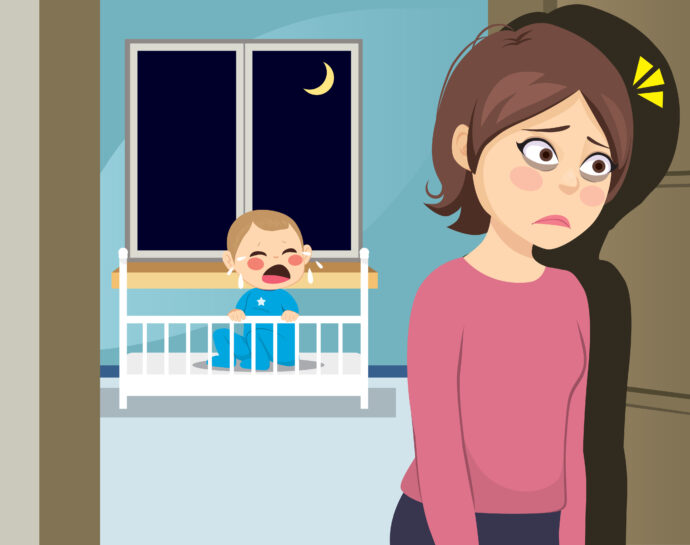 wann schläft das baby durch, müde mutter mit weinendem baby, baby nachts wach