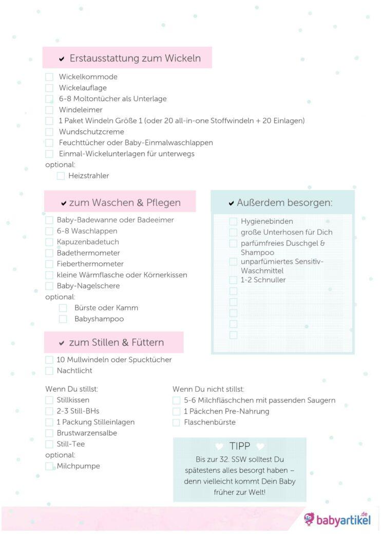 Baby Erstausstattung Liste PDF, Erstausstattung Checkliste Ausdrucken, Babyausstattung sparen, Erstausstattung was braucht man wirklich